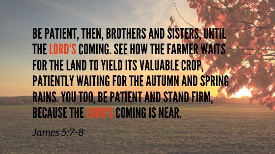 Be patient, then, brothers and sisters, until the LORD's coming. See how the farmer waits for the land to yield its valuable crop, patiently waiting for the autumn and spring rains.