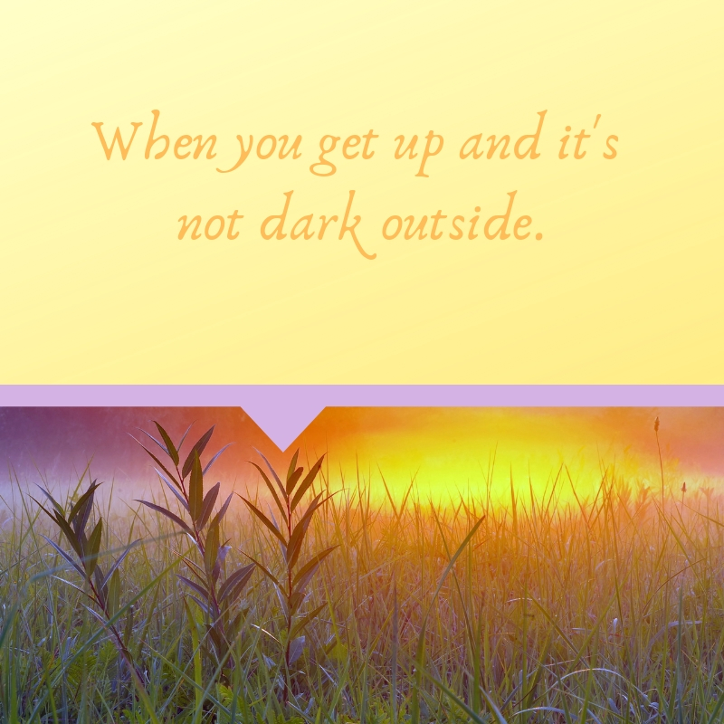 "The image says ""When you get up and it's not dark outside."""