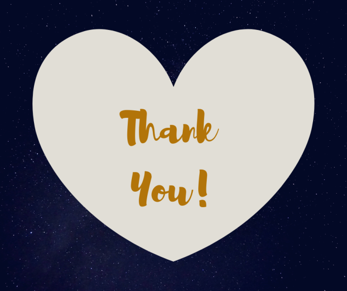 A heart with thank you stands against a backdrop of stars.